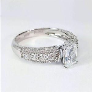 Platinum Sterling Silver Diamond Engagement Ring